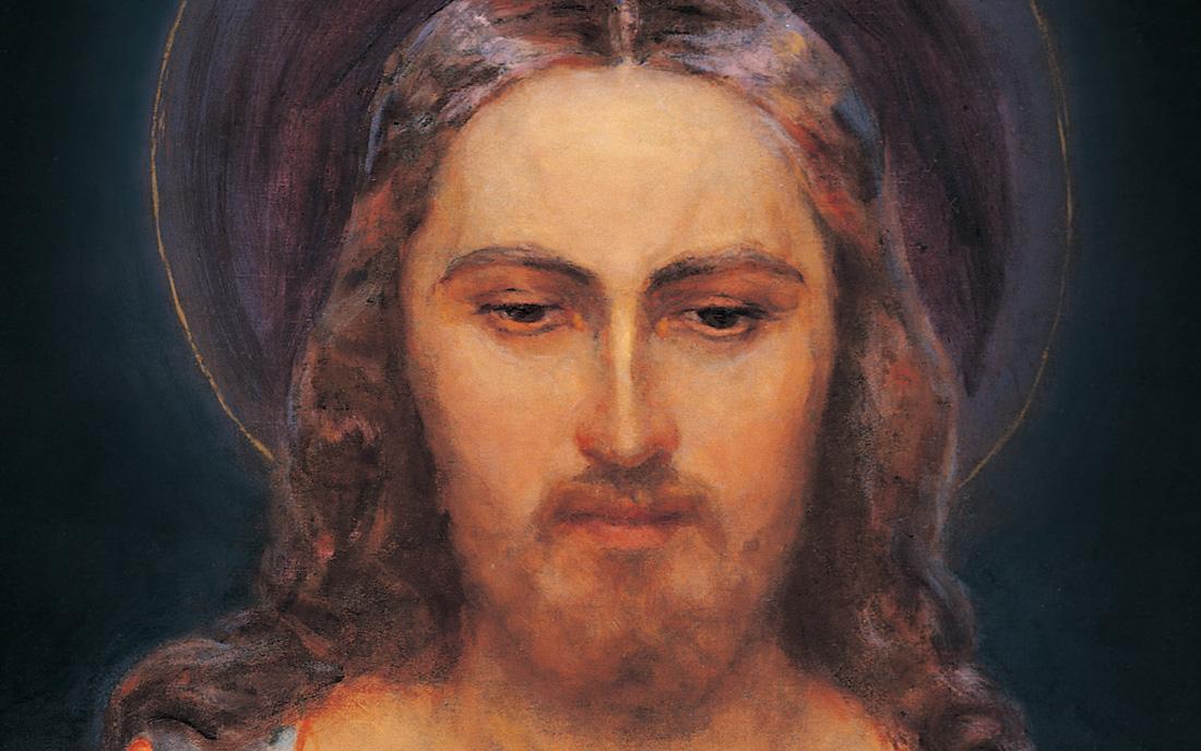 Jezus Miłosierny pędzla Eugeniusza Kazimirowskiego w Wilnie - fragment