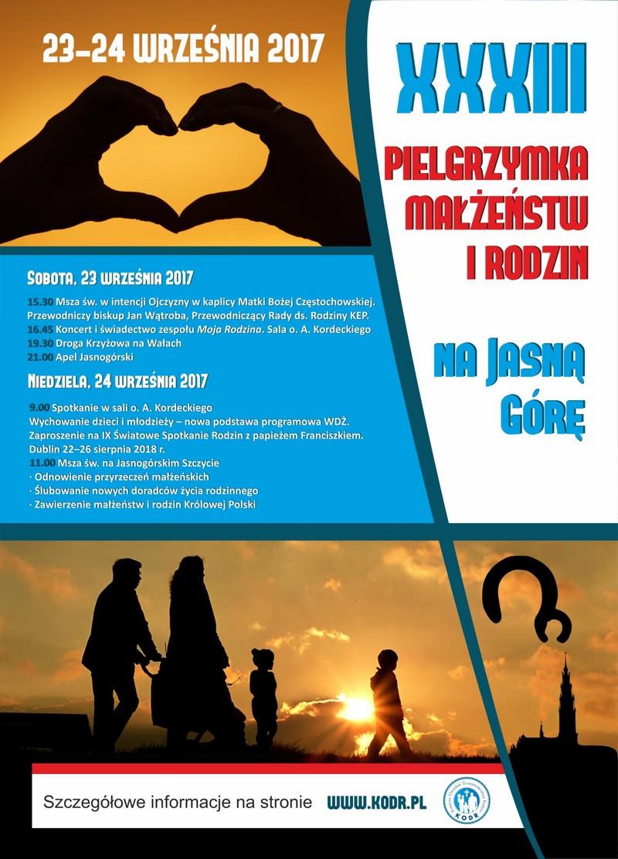 XXXIII Ogólnopolska Pielgrzymka Małżeństw i Rodzin na Jasną Górę