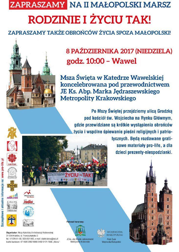 """II Małopolski Marsz """"Rodzinie i Życiu TAK!"""""""