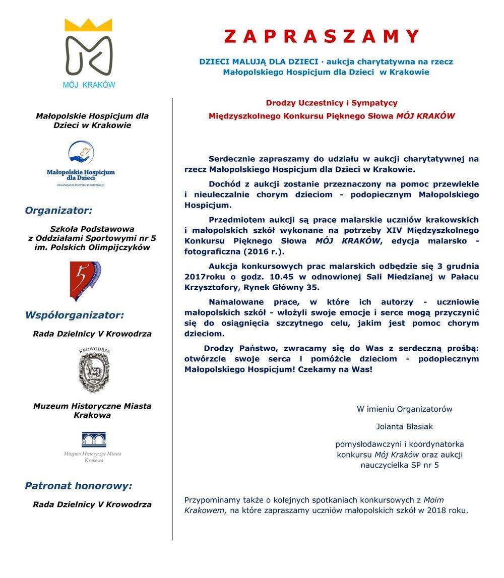 Zaproszenie na aukcję charytatywną na rzecz Małopolskiego Hospicjum dla Dzieci w Krakowie
